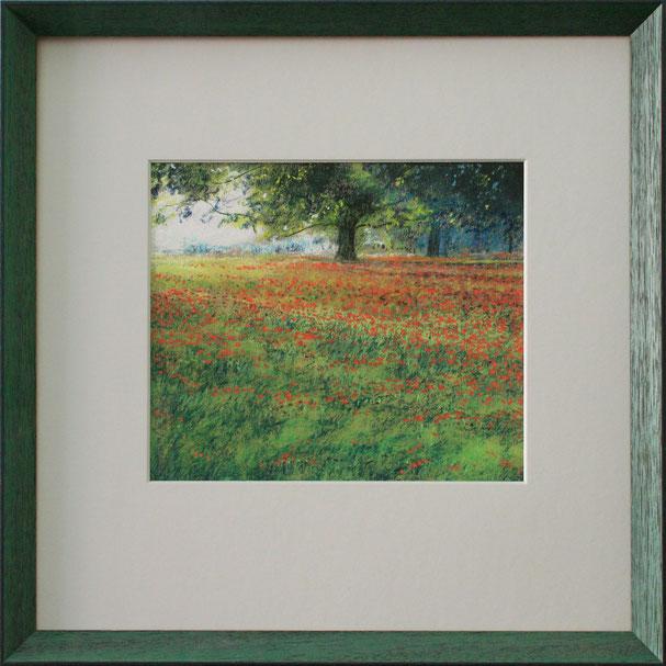 """Mohnwiese"" (Pastell), 40 cm x 40 cm"