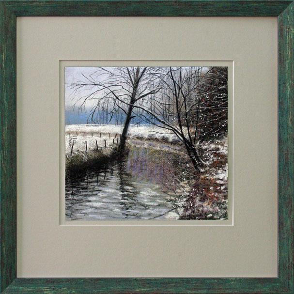 """Winter an der Wurm"" (Pastell), 40 cm x 40 cm"