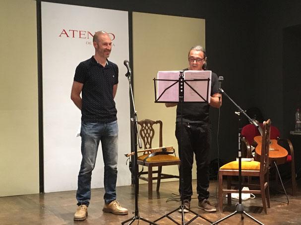 Los presentadores: Fran Cuevas Alzuguren y Lucas Ruiz.