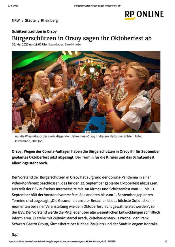 Bürgerschützenverein, sagen Oktoberfest ab, BSV-Orsoy, Oktoberfest