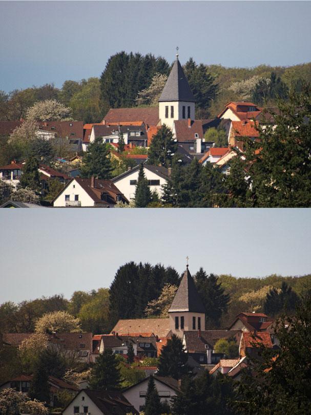 Immobilienfoto: Gegenüberstellung der Ansicht einer Ortschaft bei unterschiedlichem Sonnenstand.