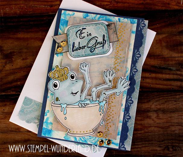Karte Froschkönig Frosch in Tasse Grußkarte handgemacht mit Bordüre Scrapboking und Pailletten von www.stempel-wunderland.de