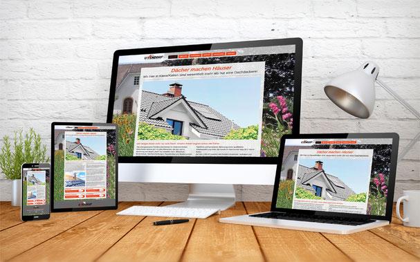 Homepage Ansicht auf verschiedenen Geräten der Firma Uttendorf-Bedachungen GmbH in Kleve-Kellen.
