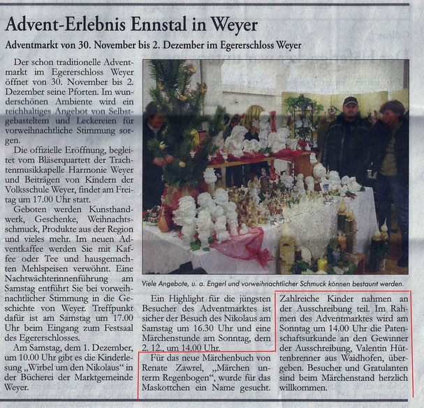 Artikel im Ybbstaler vom 29.11.2012 - Bitte auf Text in der roten Umrandung achten!