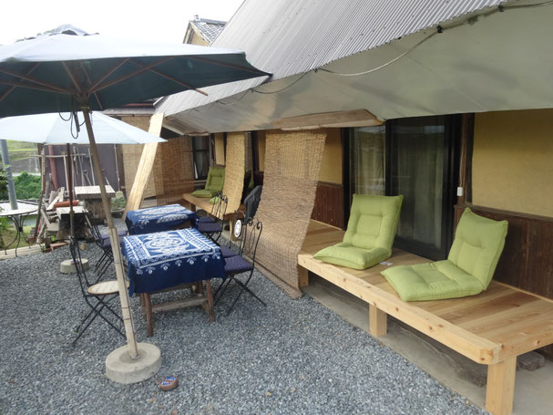 Cafe space on wooden deck