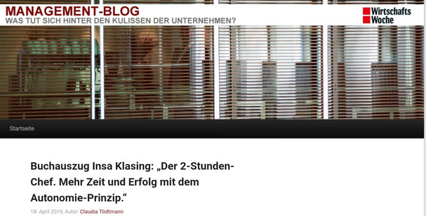 """Buchauszug """"Der 2-Stunden-Chef"""" im Managementblog der WirtschaftsWoche  von Claudia Tödtmann"""