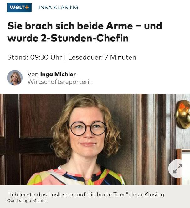 Welt Interview mit Insa Klasing von Inga Michler