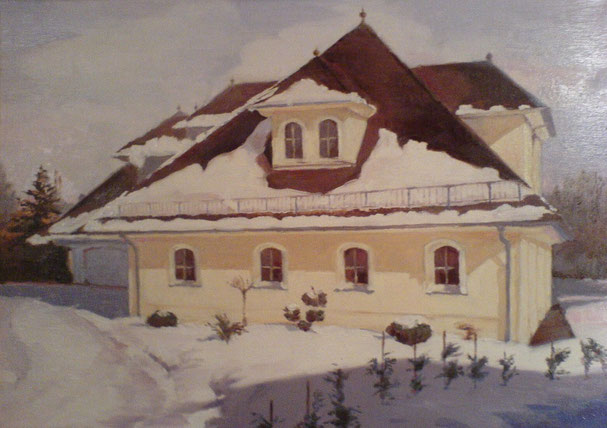 Дом зимой/ масло на холсте
