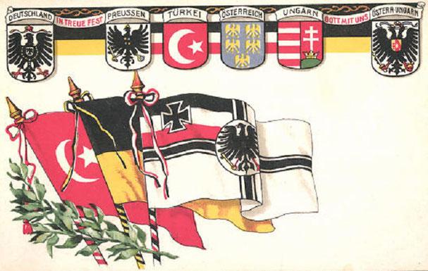 """zeitgem. Patriotika """"Dreibund"""" Deutsches Reich - Österreich-Ungarn - Osmanisches Reich"""