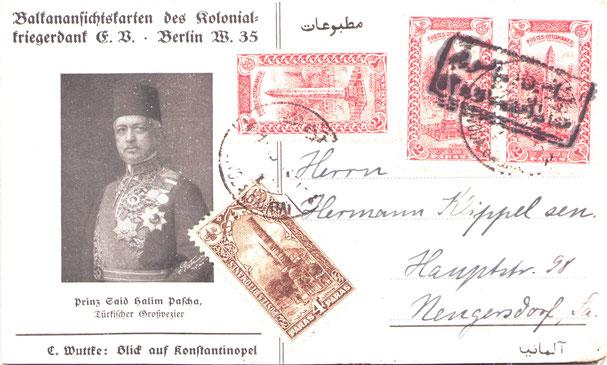 zeitgen. Fotopostkarte mit Blick auf Konstantinopel im Osmanischen Reich mit Ansicht von Prinz Said Halim Pascha. Lustigerweise trägt der Großvezir die Imtiazmedaillen auf der Schulter.
