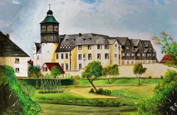 Der Fürstenflügel des Schlosses Ziegenhain, gemalt v. H. Künzel, Foto: Hans Merle