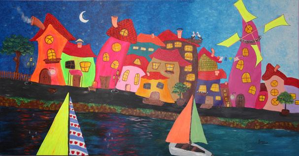 © Wenn die Stadt ihre Schiffe sieht.   Acryl auf Leinwand.   210 x 110cm