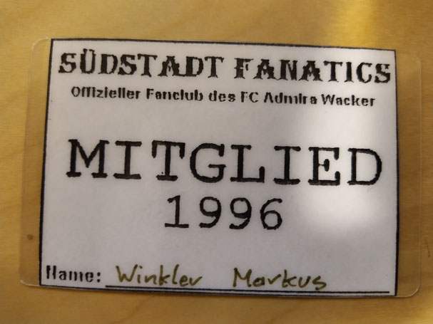 Der Mitgliedsausweis von Markus aus dem Jahr 1996