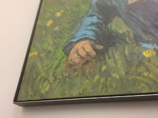 Gemälde; K.Schenk eingelegt in Eisenrahmen