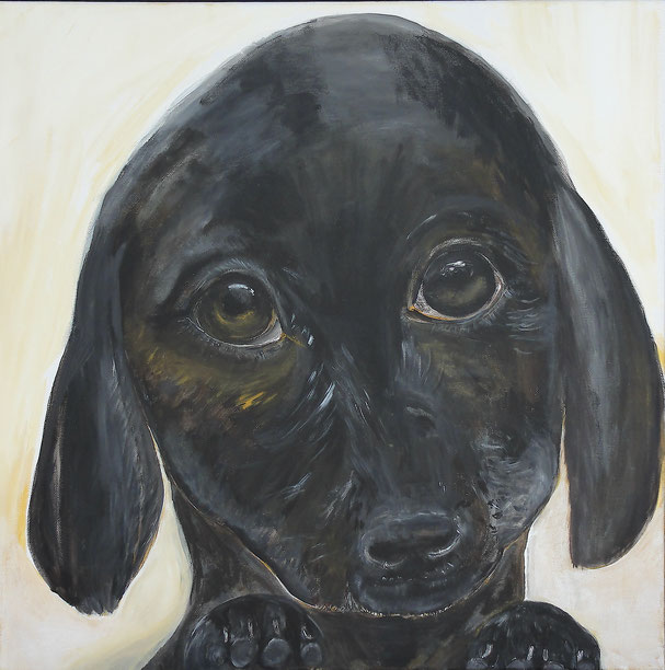 Lis: Young dog. Painting on canvas, 60 x 60 cm