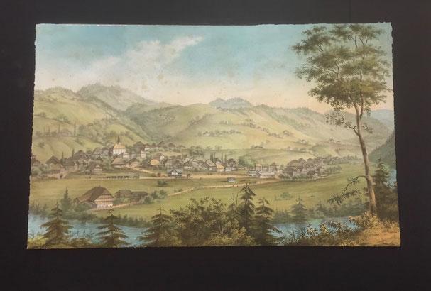 Litho von Langnau um 1860 - schwebend eingelegt in Alu-Distanzrahmen.
