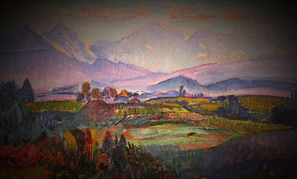 Einrahmung Gemälde; Bild im Eisenrahmen freigestellt