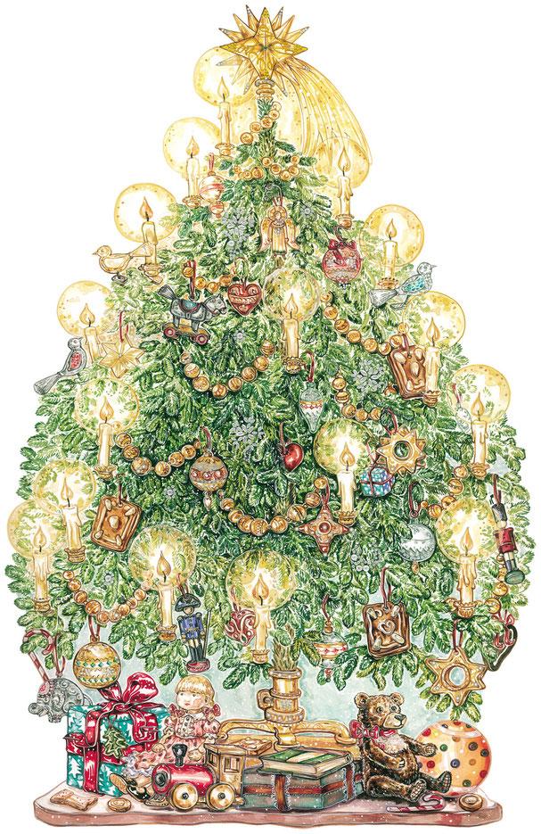 """Adventskalender """"Der Weihnachtsbaum"""" feines Aquarell mit unzähligen Details Caroline Ronnefeldt für ars Edition"""
