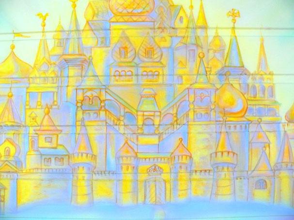 """Роспись детской комнаты.""""Город золотой"""""""
