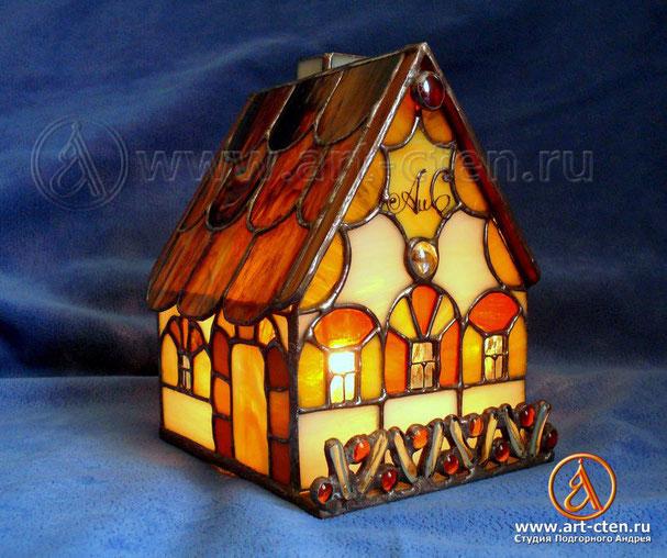 Витражный светильник «Домашний очаг»