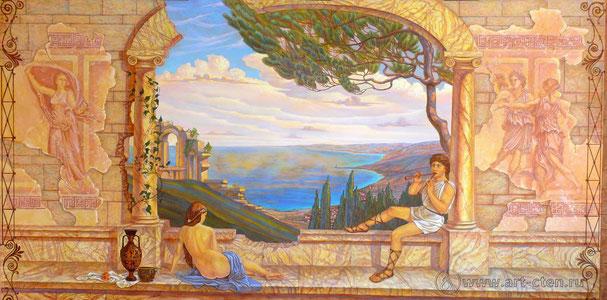 Роспись стен бассейна создаёт атмосферу южного солнца, древней Эллады.