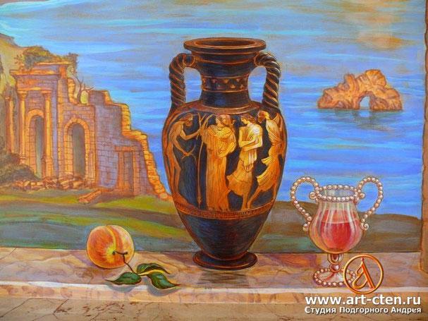 Роспись имитирующая окно с вазой.