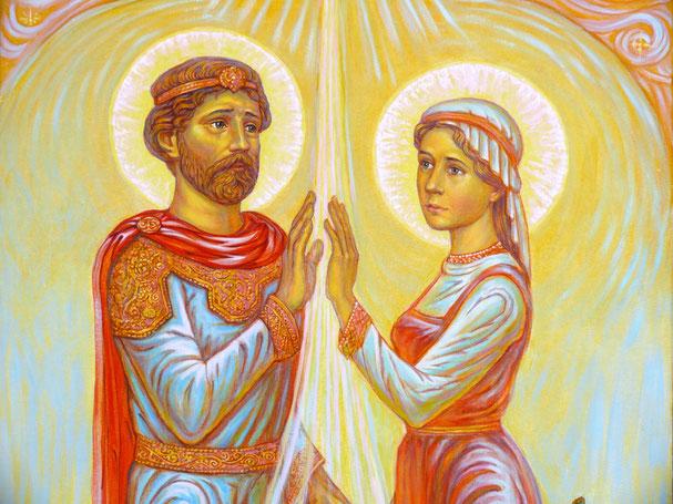Фрагмент картины: Святые Пётр и Феврония Муромские, «Встреча», размер полотна 100 х 50 см. холст, акрил.