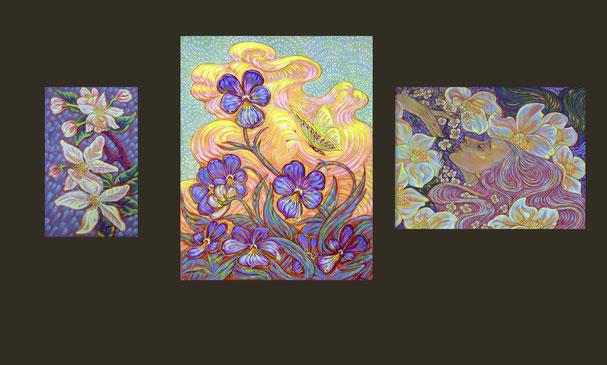 """Серия работ под общей темой. """"Весенние цветы"""" серия состоит из трёх работ написанных в 2004 году."""