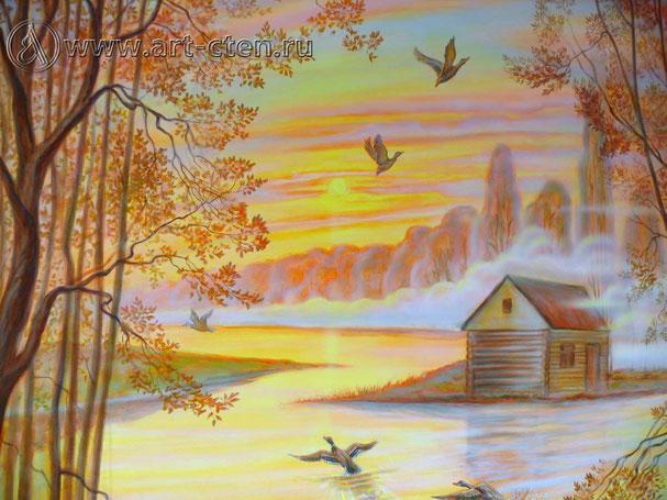Роспись стены «Охотничий домик», фрагмент.