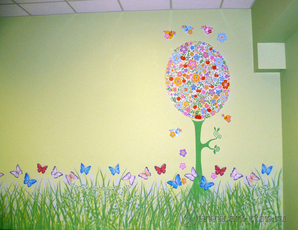 В комнате с зелёными стенами цветущее дерево окружено птицами и имеет отражение в зеркале. Высокая трава и порхающие бабочки украшают помещение по всему периметру комнаты