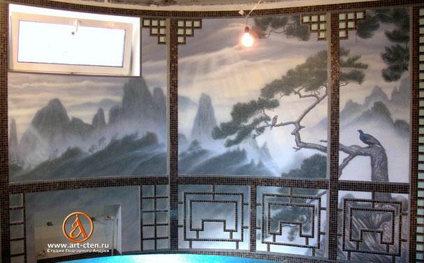 Роспись стен бассейна в восточном стиле.