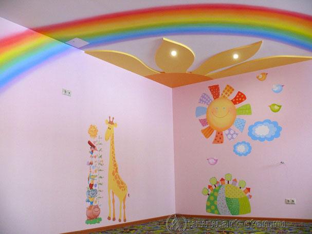 Роспись стен детских комнат в оздоровительном центре «Мой ангел» несут на себе задачу релаксации и декоративной разработки плоскости.