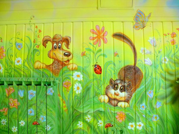 """Роспись мансарды, как детской комнаты.""""Кот и пёс"""""""