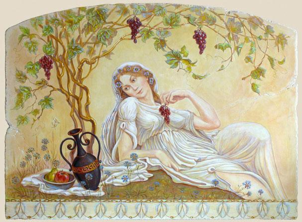 """фреска """"Девушка с виноградом""""."""