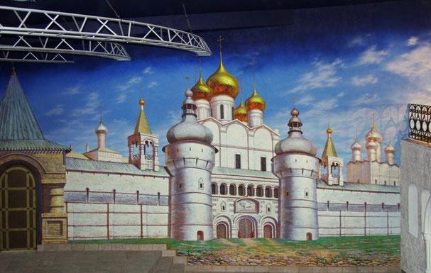 """Роспись стен центрального зала ресторана """"Иван Васильевич"""", занимает более 90 м. к."""