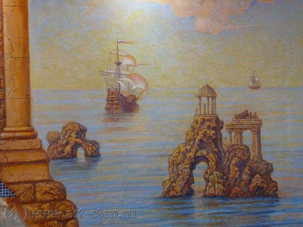 Роспись стены на морскую тему создана по декоративной штукатурке, именно по этому она  приобретает изысканную фактуру