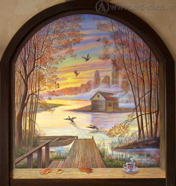 Роспись стены «Охотничий домик».