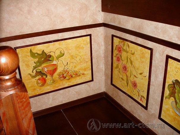 Роспись стен кафе «Старый парк» выполнен в стиле французского Прованса.