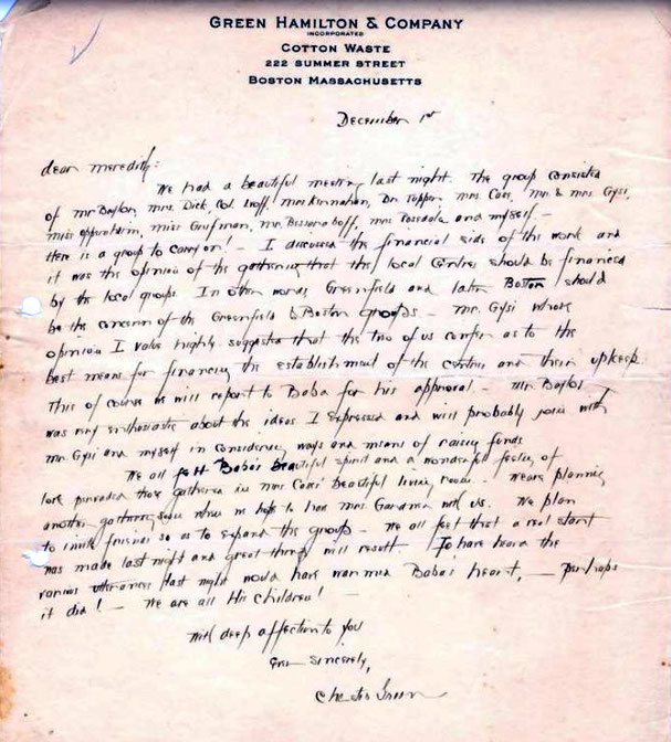 1st December, 1931 : Letter from Chester Green to Meredith Starr. Courtesy of AMB Archives, Meherabad, India