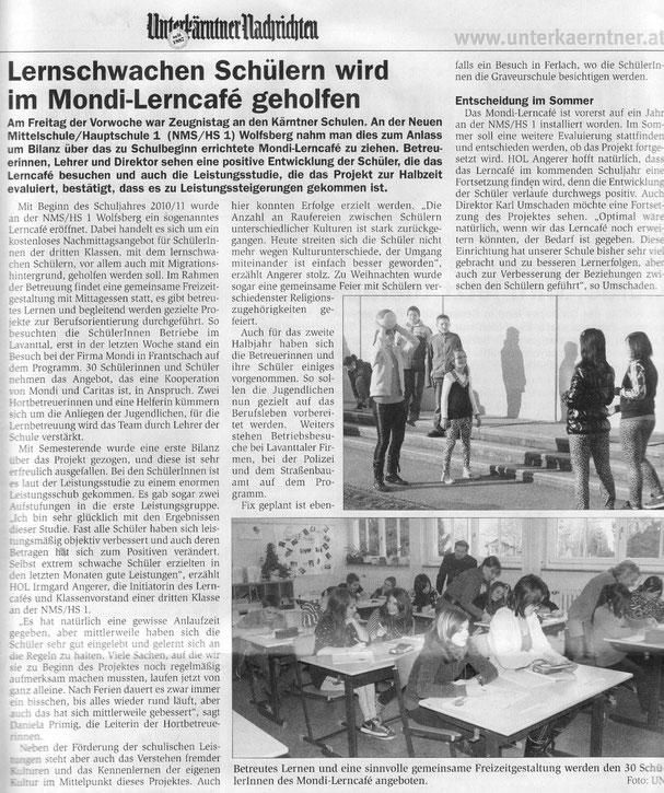 Bericht in der Unterkärntner Nachrichten - 16.02.2011