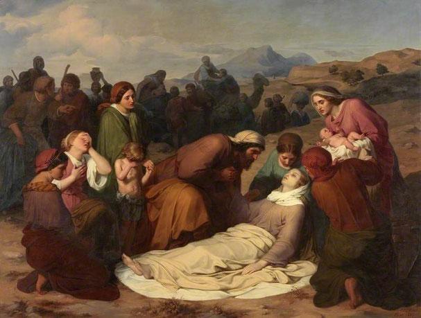 Les femmes accouchent dans la souffrance et la douleur. Chaque année de nombreuses femmes meurent en couches dans le monde. La Bible relate la mort de Rachel après avoir mis au monde son fils Benjamin le plus jeune des 12 fils de Jacob.