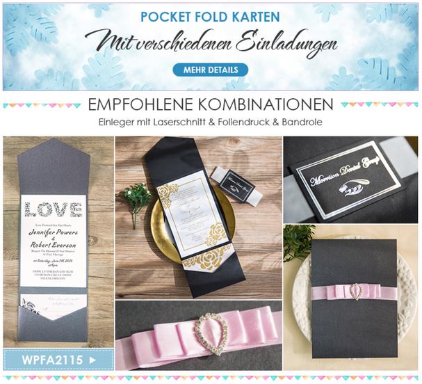 Pocket Fold Karten Pocketkarten Taschenkarten Hochzeitseinladung mit Taschen