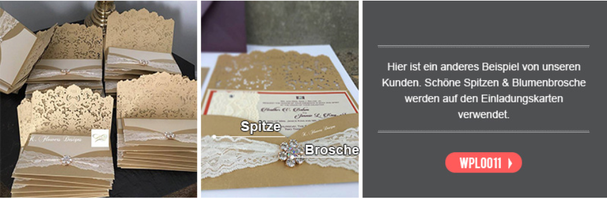Hochzeitskarten mit Verzierungen, Bändern, Banderolen und Broschen