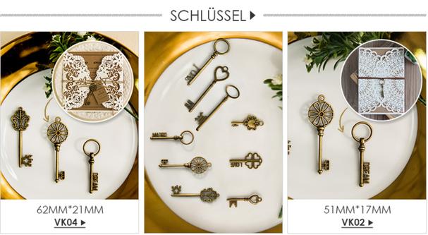 Lasercut Karten      Kristallstrass, Schlüssel, Etikette - Schöne Verzierungen für Einladungen & Geschenke