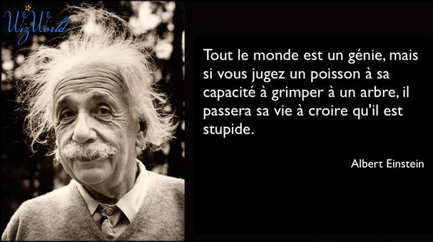 """""""Tout le monde est un génie, mais si vous jugez un poisson à sa capacité à grimper à un arbre, il passera sa vie à croire qu'il est stupide."""" Albert Einstein"""