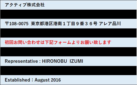 アクティブ株式会社 泉博伸 4054-4361