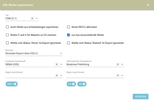 CWR-Export-Optionen in ALV für Musikverlage
