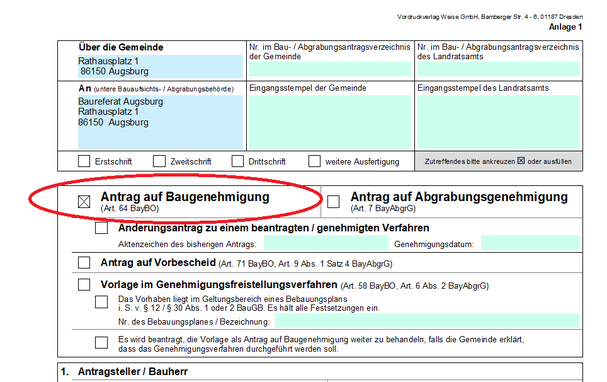 Antrag auf Baugenehmigung in München, Starnberg und Áugsburg.