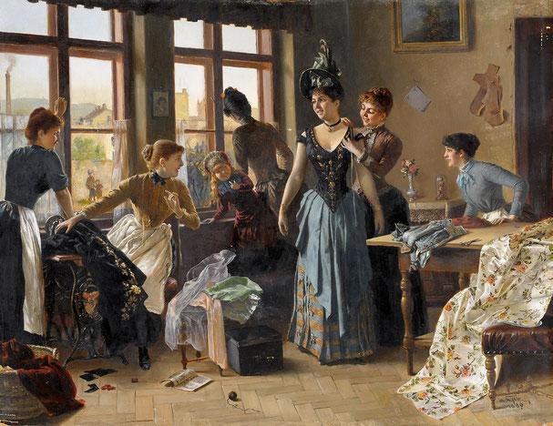 Das neue Kleid, Gemälde von Moritz Stifter von 1899. Quelle: Wikipedia