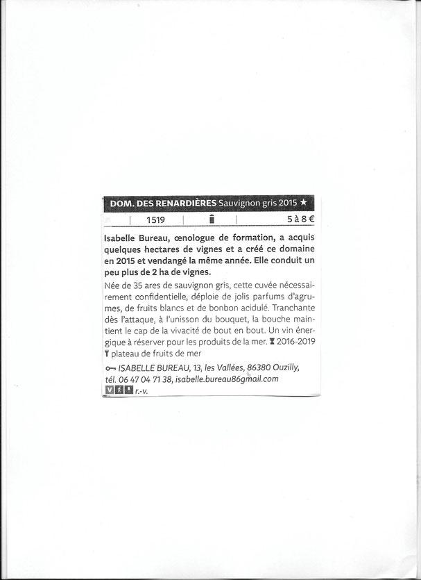 Sauvignon gris, guide hachette